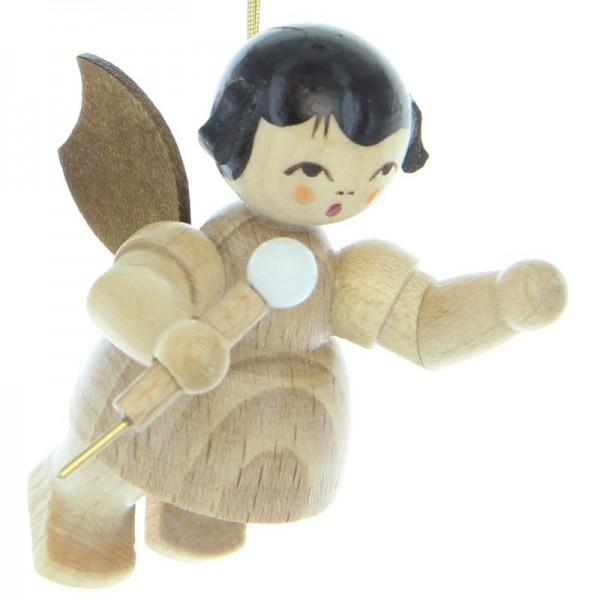 Uhlig Engel schwebend mit Mikrofon, natur, handbemalt