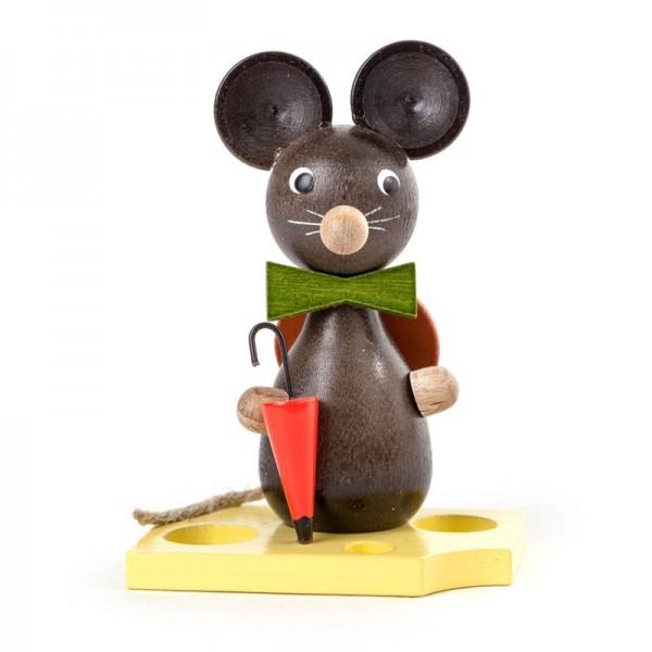 Dregeno Erzgebirge - Miniatur-Maus mit Hut und Schirm