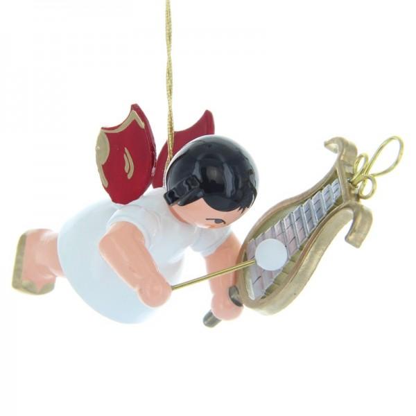 Uhlig Schwebeengel mit Glockenspiel, rote Flügel, handbemalt