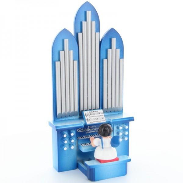 """Uhlig Engel sitzend an der Orgel mit Spielwerk """"O Tannenbaum"""" Kurzfassung, blaue Flügel, handbemalt"""