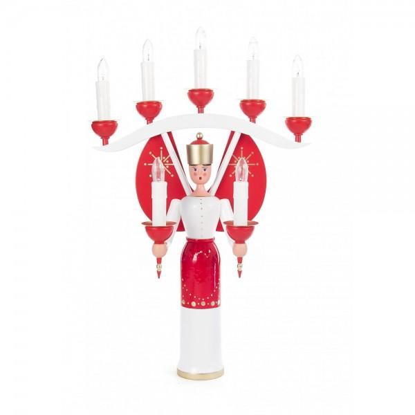 Dregeno Erzgebirge - Engel mit Joch und rote Flügel, elektrisch beleuchtet - 40cm