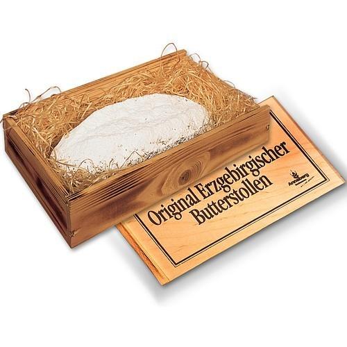 Original Erzgebirgischer Butterstollen in der Holzkiste
