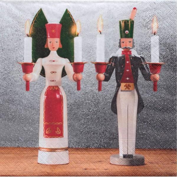 Dregeno Erzgebirge - Servietten Erzgebirgstradition Engel und Bergmann 20er-Pack