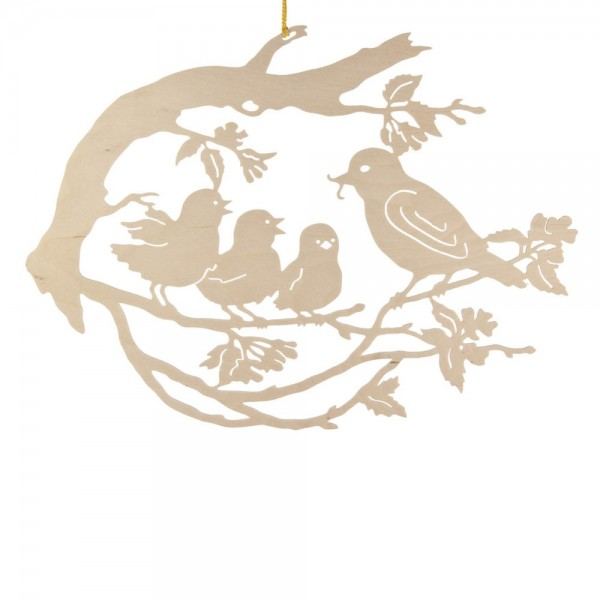 Dregeno Erzgebirge - Fensterbild, Motiv: Vogelfamilie auf Baum, natur