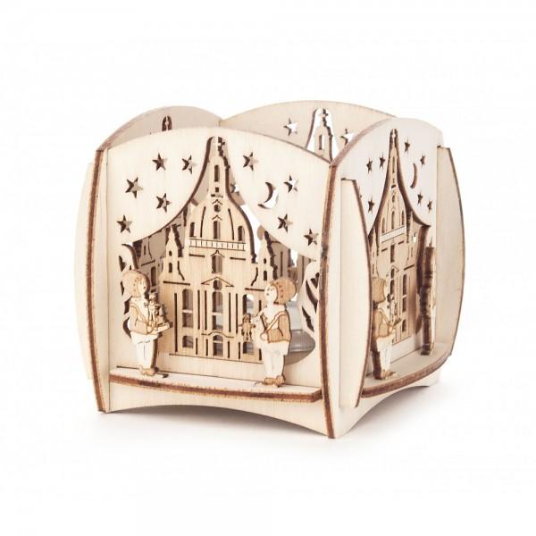 Dregeno Erzgebirge - Teelichthalter mit 3D-Motiv Dresdner Frauenkirche und Striezelkinder