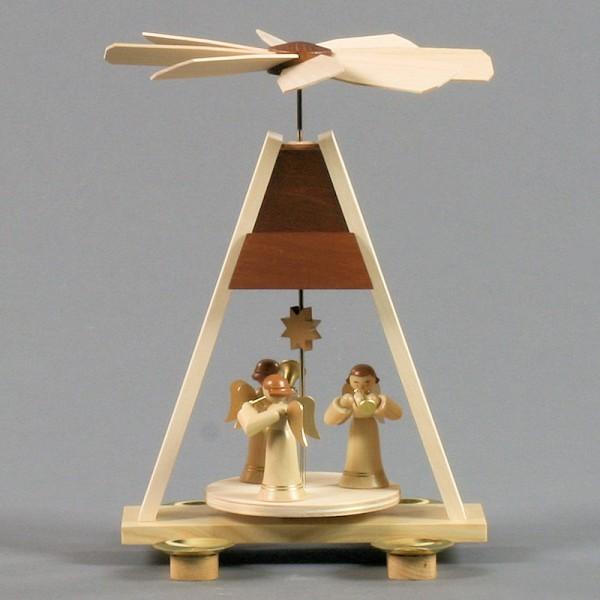 Dregeno Erzgebirge - Pyramide klein mit Engel, für Kerzen - 25cm