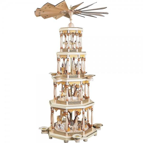 Richard Glässer Erzgebirgspyramide Christi Geburt 4-stöckig natur 94cm