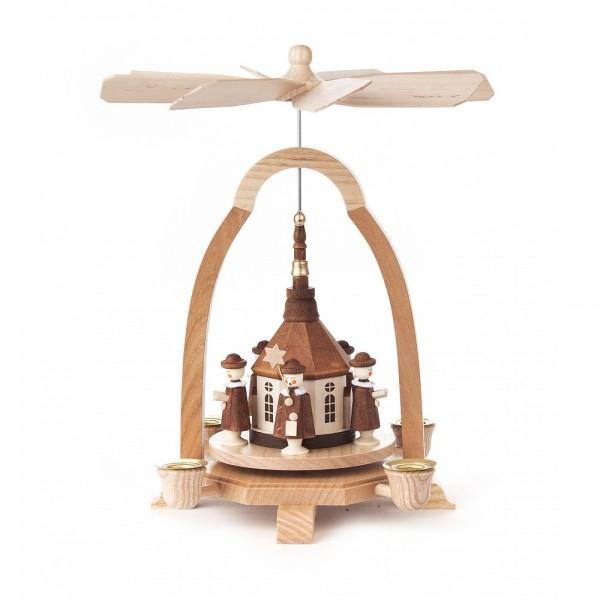 Dregeno Erzgebirge - Pyramide klein mit Seiffener Kirche, für Kerzen - 25cm