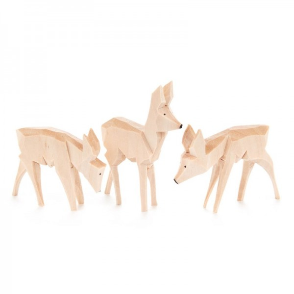 Dregeno Erzgebirge - Miniatur-Geschnitzte Rehe, 3-teilig
