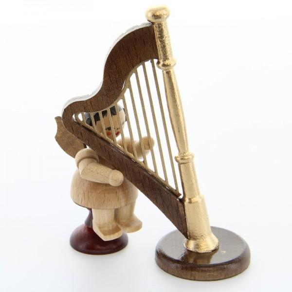 Uhlig Engel sitzend mit Harfe, natur, handbemalt