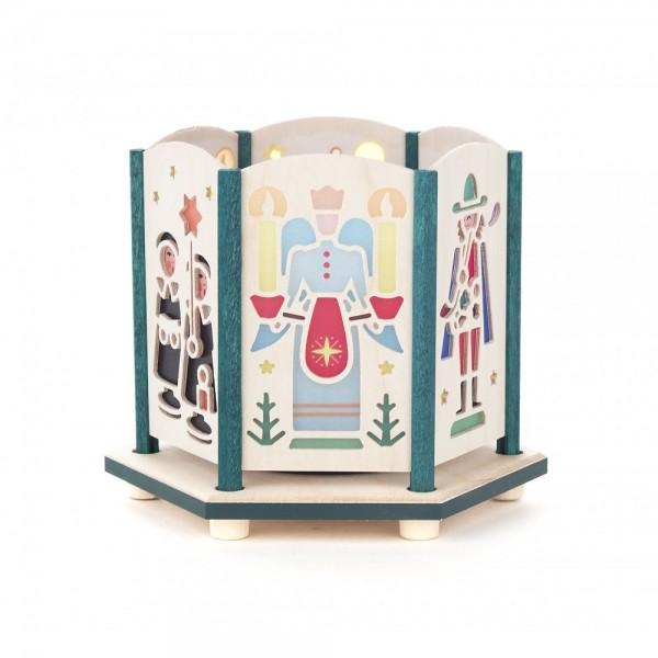 Dregeno Erzgebirge - Teelichthalter 9cm farbig - Motiv Seiffener Kirche