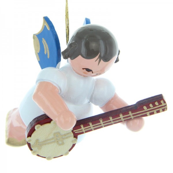Uhlig Schwebeengel mit Banjo, blaue Flügel, handbemalt