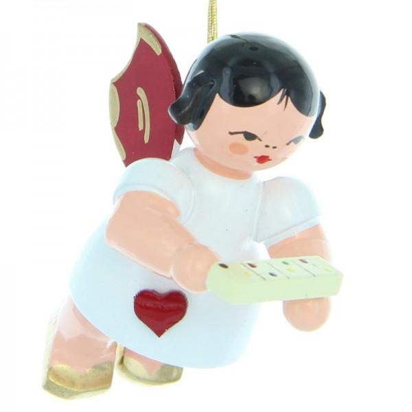 Uhlig Herzengel schwebend mit Tablettenbox, rote Flügel, handbemalt
