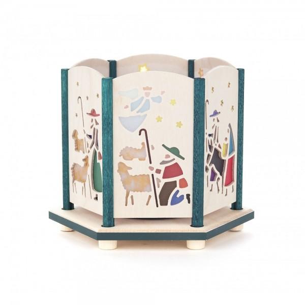 Dregeno Erzgebirge - Teelichthalter 9cm farbig - Motiv Krippe