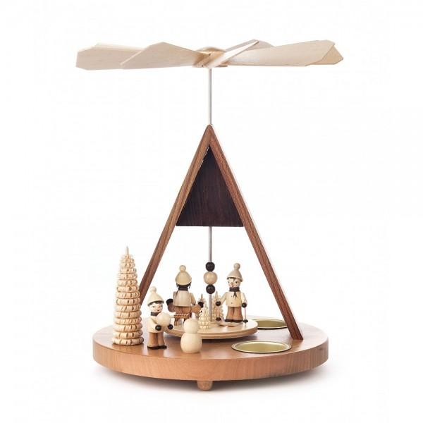 Dregeno Erzgebirge - Spitzdach-Pyramide mit Winterkindern, für Teelichter