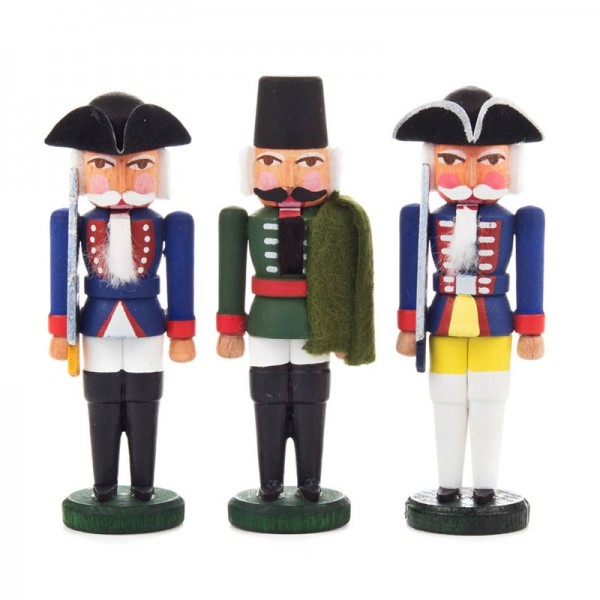 Dregeno Erzgebirge - Miniatur-Nussknacker Preußische Offiziere, 3 Figuren