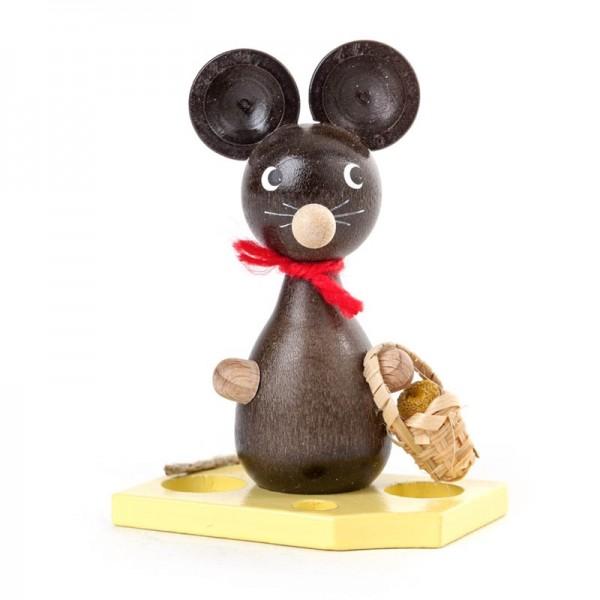 Dregeno Erzgebirge - Miniatur-Maus mit Blumenkörbchen