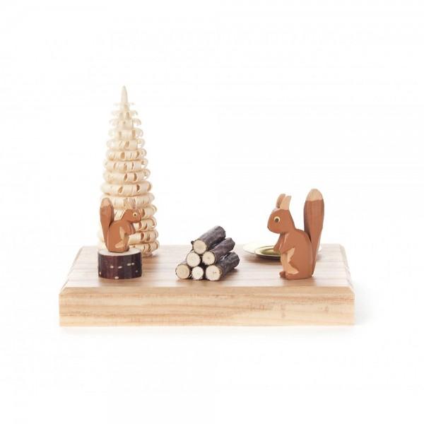 Dregeno Erzgebirge - Kerzenhalter mit zwei Eichhörnchen - 7cm