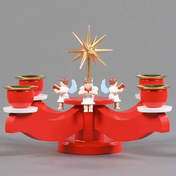 Dregeno Erzgebirge - Adventsleuchter mit Stern und Engeln, rot - 18cm