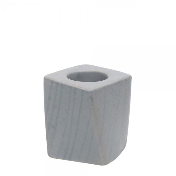Restposten - Keramik Kerzenhalter Samba, Grau 7 x 7 x 8,5 cm