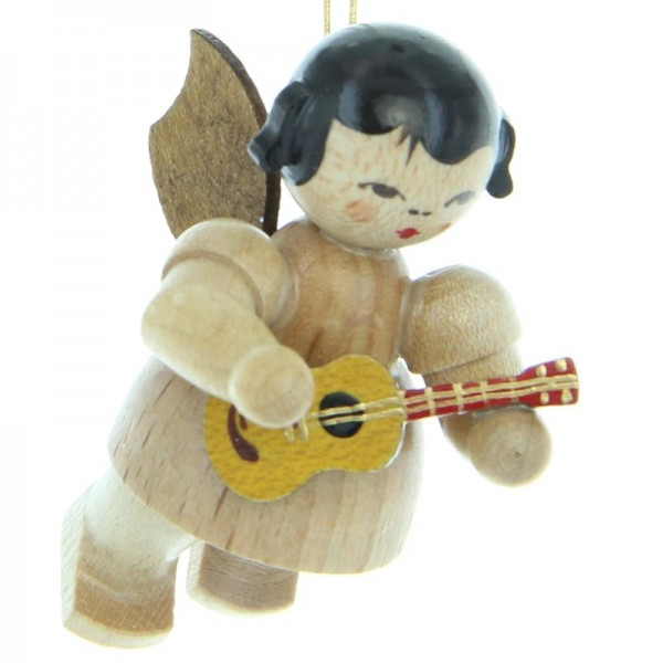 Uhlig Engel schwebend mit Ukulele, natur, handbemalt