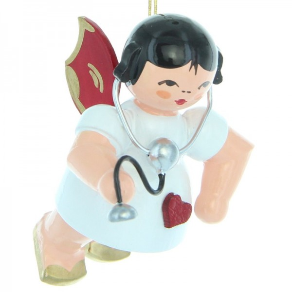Uhlig Herzengel schwebend mit Stethoskop, rote Flügel, handbemalt