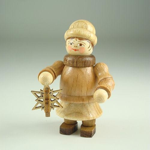 Lenk & Sohn Gedrechselte Holzfigur Erzgebirge Weihnachtkinder Mädchen mit Stern