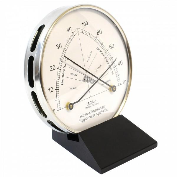 Fischer Raum-Klimamesser synthetic mit Thermometer im Edelstahlgehäuse mit Holzfuss Schwarz