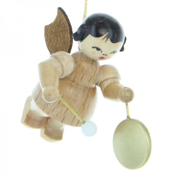 Uhlig Engel schwebend mit kleinem Gong, natur, handbemalt
