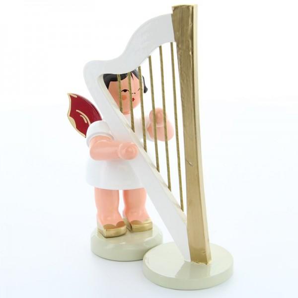 Uhlig Engel groß stehend mit Harfe, rote Flügel, handbemalt