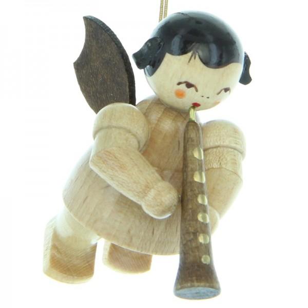 Uhlig Engel schwebend mit Oboe, natur, handbemalt