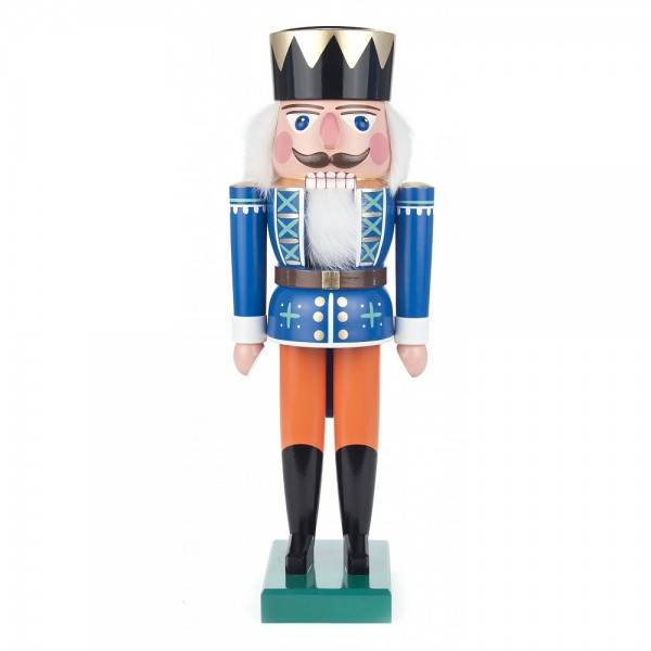 Dregeno Erzgebirge - Nussknacker König blau/orange - 36cm