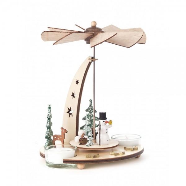 Dregeno Erzgebirge - Pyramide klein mit Schneemann für Teelichter - 18cm