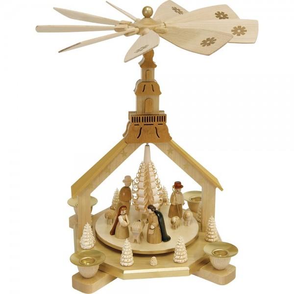 Richard Glässer Erzgebirgspyramide Kirche Christi Geburt 27cm