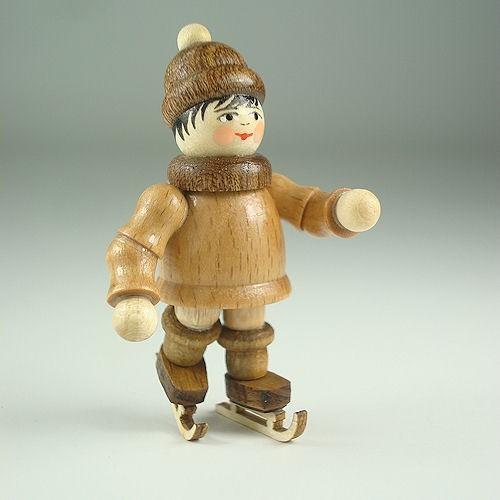 Lenk & Sohn Gedrechselte Holzfigur Erzgebirge Winterkinder Eisläufer Junge