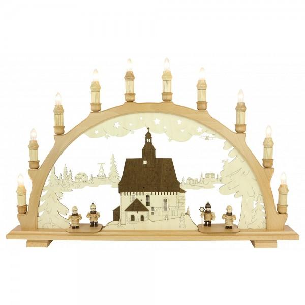 Lenk & Sohn Schwibbogen Erzgebirge 1-fach, 10-flammig Motiv Wehrkirche