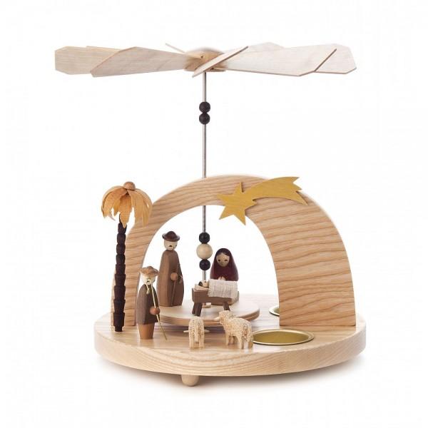 Dregeno Erzgebirge - Rundbogen-Pyramide mit Christi Geburt, für Teelichter