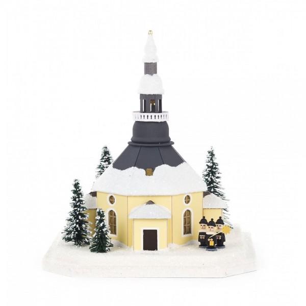 Dregeno Erzgebirge - Lichterhaus Seiffener Kirche klein aus Pappe mit Kurrende, beleuchtet - 22cm