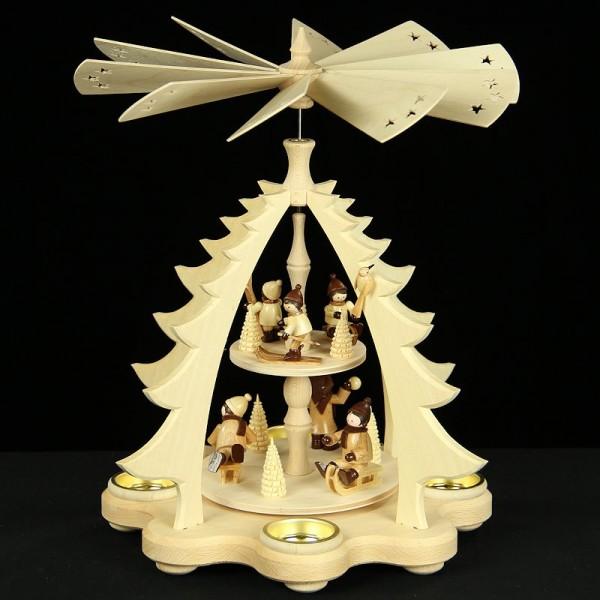 Holzkunst Niederle - Tischpyramide Winterkinder 2-stöckig