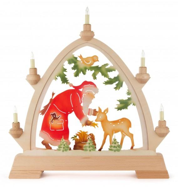 Dregeno Erzgebirge - Rundbogen Weihnachtsmann mit Reh farbig, elektrisch beleuchtet