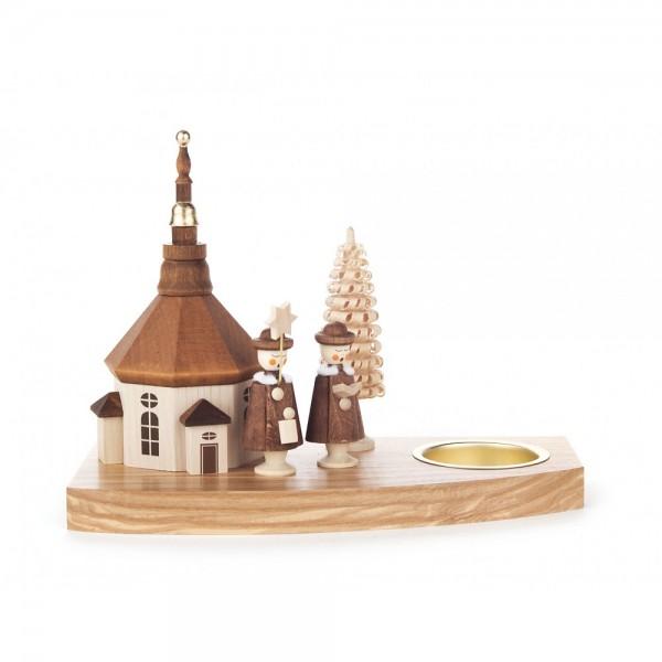 Dregeno Erzgebirge - Teelichthalter mit Seiffener Kirche und Kurrende - 13cm