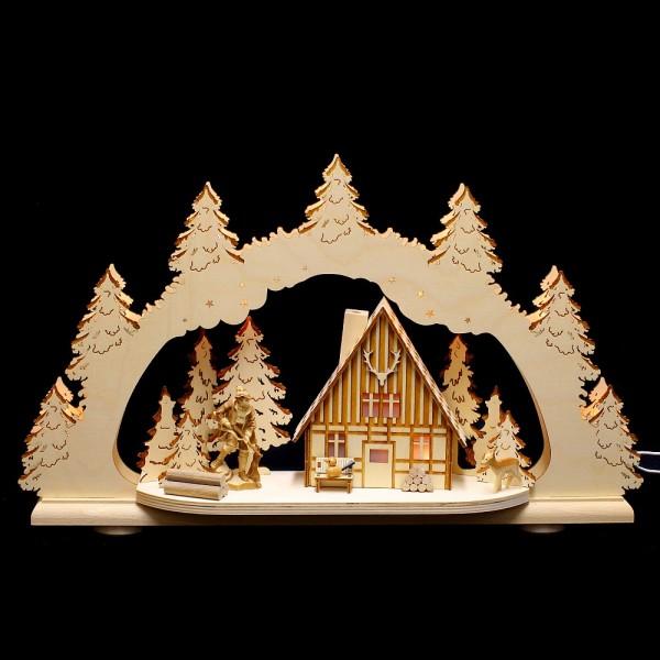 HELA Holzkunst - Schwibbogen Erzgebirge - 2D Wildschütz mit Figur