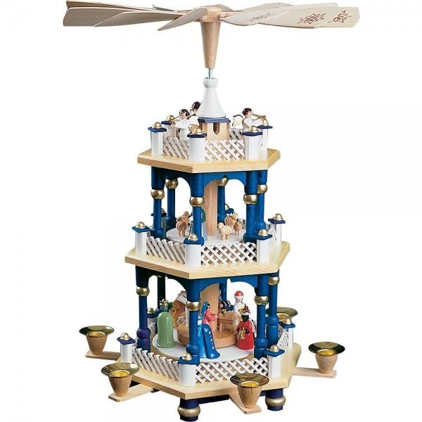 Richard Glässer Erzgebirgspyramide Christi Geburt 2-stöckig blau 40cm