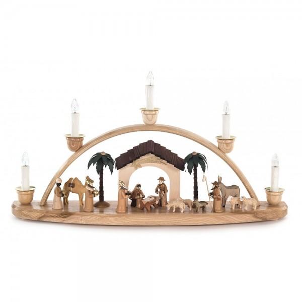 Dregeno Erzgebirge - Schwibbogen klein mit Christi Geburt und Figuren natur - elektrisch beleuchtet
