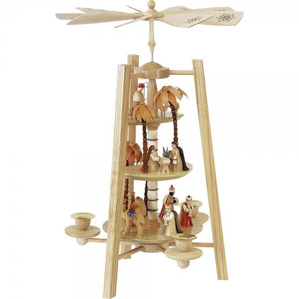 Richard Glässer Erzgebirgspyramide Christi Geburt 3-stöckig natur 42cm