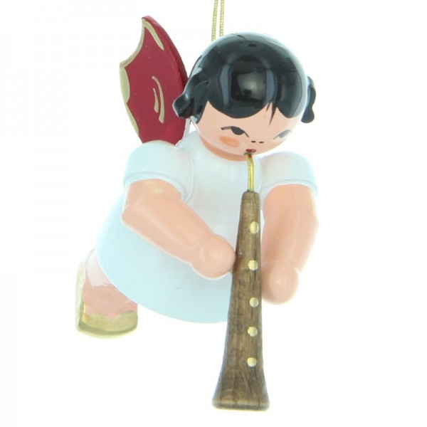 Uhlig Engel schwebend mit Oboe, rote Flügel, handbemalt