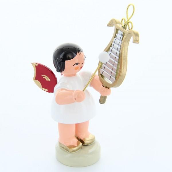 Uhlig Engel stehend mit Glockenspiel, rote Flügel, handbemalt