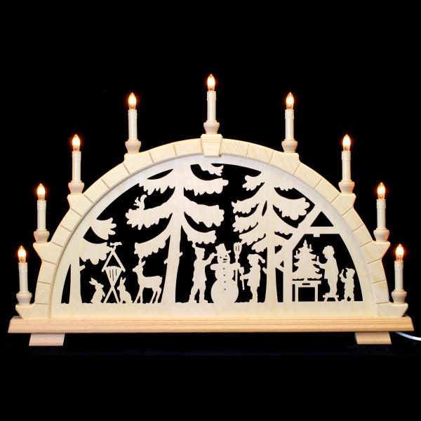 Holzkunst Niederle - Schwibbogen 9-flammig - Waldmotiv