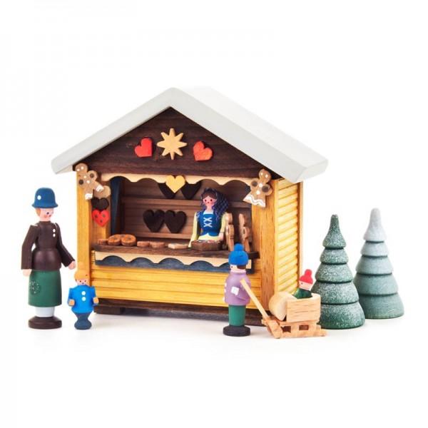 Dregeno Erzgebirge - Miniatur-Weihnachtsbäckerbude mit 4 Figuren und 2 Bäumchen