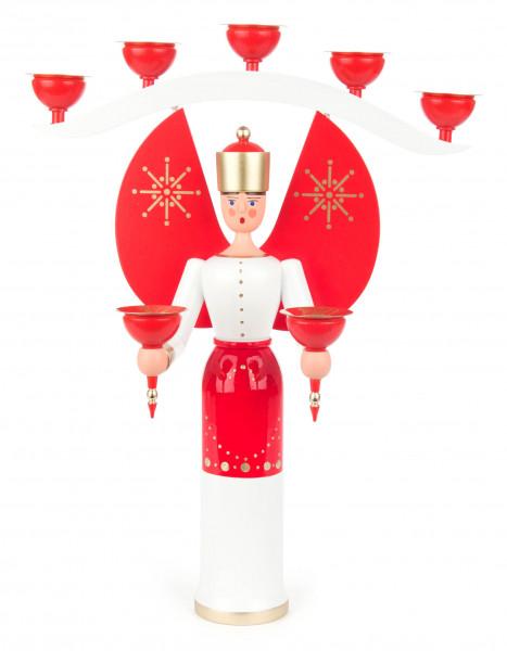 Dregeno Erzgebirge - Engel mit Joch rot, für Kerzen Ø 14mm